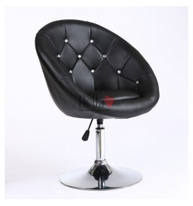 Black swivel chair for beauticians, hairdressers. Stylish swivel chair with solid base. Gas lift chairs Ireland. Bespoke chairs