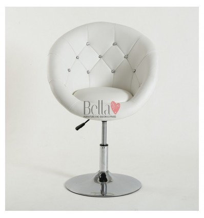 White swivel chair for beauticians, hairdressers. Stylish swivel chair with solid base. Gas lift chairs Ireland. Bespoke chairs