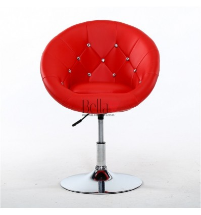 Red swivel chair for beauticians, hairdressers. Stylish swivel chair with solid base. Gas lift chairs Ireland. Bespoke chairs