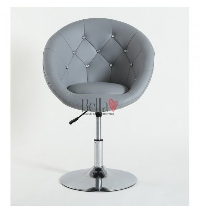 Grey swivel chair for beauticians, hairdressers. Stylish swivel chair with solid base. Gas lift chairs Ireland. Bespoke chairs