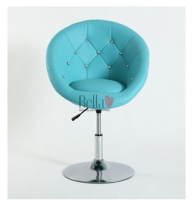 Turquoise swivel chair for beauticians, hairdressers. Stylish swivel chair with solid base. Gas lift chairs Ireland. Bespoke cha