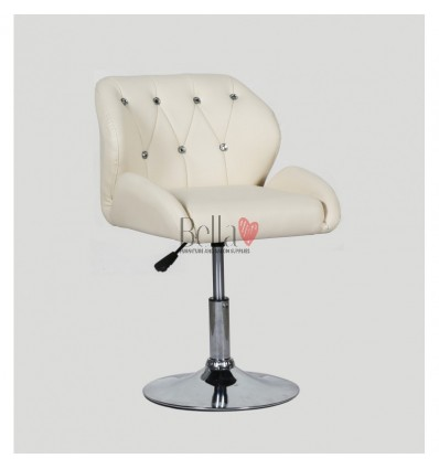 Chair Cream BFHC949N. Cream chair for beauty salon and hairdressers. Black salon chair with solid base. Bella Furniture