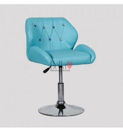 Chair Turquoise BFHC949N. Turquoise chair for beauty salon and hairdressers. Black salon chair with solid base. Bella Furniture