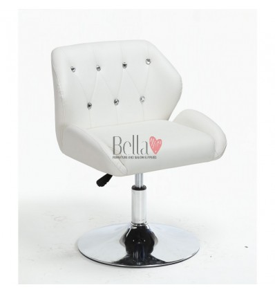 Chair White BFHC949N. White chair for beauty salon and hairdressers. Black salon chair with solid base. Bella Furniture