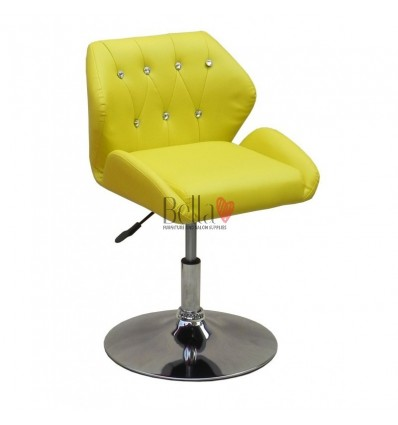 Chair Yellow BFHC949N. Yellow chair for beauty salon and hairdressers. Black salon chair with solid base. Bella Furniture