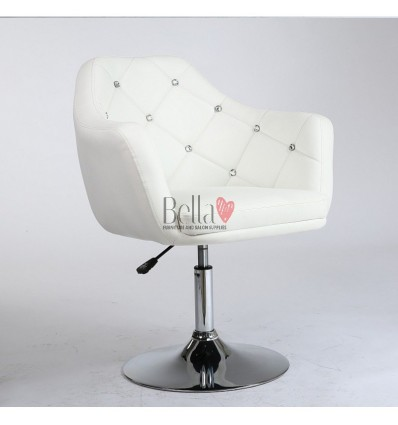 White. Beautiful salon chair. Unique chair for beauty salon, hairdresser and nail salon. Bella Furniture Chair White BFHC830