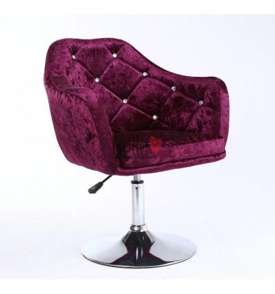 Purple Velour. Beautiful salon chair. Unique chair for beauty salon, hairdresser and nail salon. Bella Furniture Chair Purple Ve
