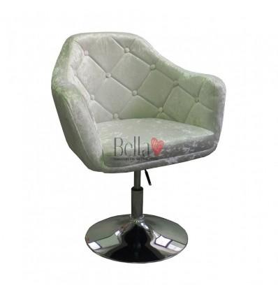 Grey Velour. Beautiful salon chair. Unique chair for beauty salon, hairdresser and nail salon. Bella Furniture Chair Grey Velour