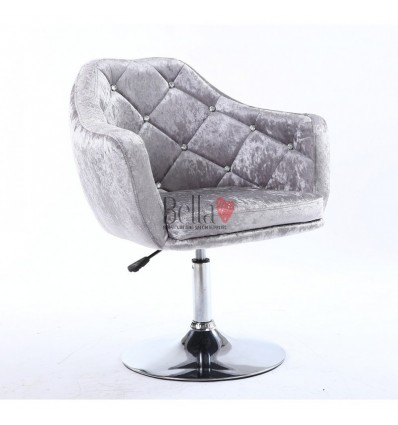 Grey Silver Velour. Beautiful salon chair. Unique chair for beauty salon, hairdresser and nail salon. Bella Furniture Chair Grey