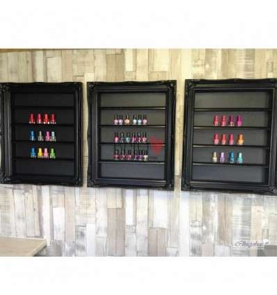 NAIL POLISH DISPLAY FRAME BLACK GLOSS FRENCH BAROQUE STYLE