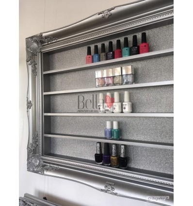 NAIL POLISH DISPLAY FRAME PEWTER SILVER LARGE SIZE
