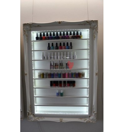 NAIL POLISH DISPLAY FRAME RACK LARGE WHITE BAROQUE STYLE WITH LED LIGHTING, ACRYLIC SAFETY LIP AND GOLD LEAF