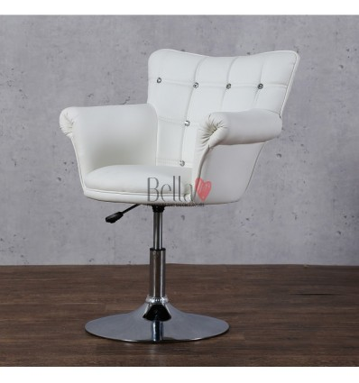 Swivel salon chairs. White Swivel beauty chairs. White Swivel hairdresser chairs