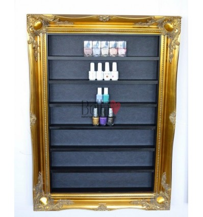 NAIL POLISH LARGE RACK DISPLAY FRAME GOLD & BLACK ORNATE STYLE