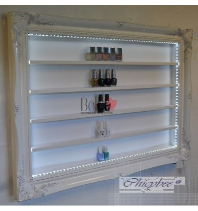 NAIL POLISH BEAUTY DISPLAY FRAME WHITE GLOSS WITH SILVER LEAF & LED LIGHTING