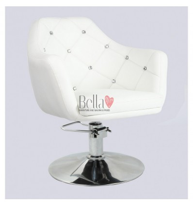 White Hydraulic chair for beauty salon. White Hydraulic chairs for hairdresser BFHC8517H