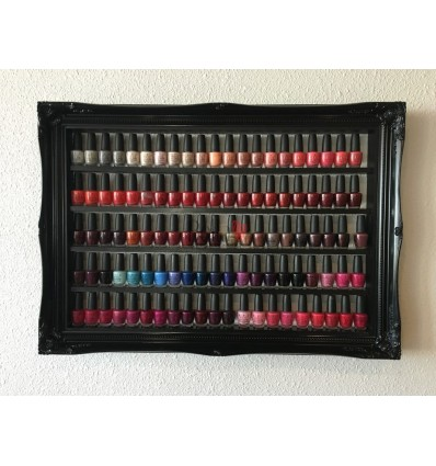 HIGH GLOSS BLACK FRENCH BAROQUE STYLE NAIL POLISH RACK - MEDIUM SIZE