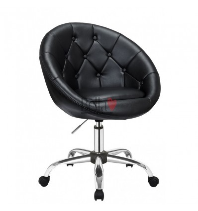 Black Chairs on wheels for beauty salons, hairdressers and nail salons. Chair on wheels Black BFHC8516K