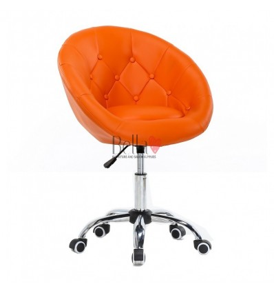 Orange Chairs on wheels for beauty salons, hairdressers and nail salons. Chair on wheels orange BFHC8516K