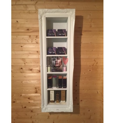 BEAUTY PRODUCT DISPLAY FRAMED CABINET WHITE GLOSS SPACE SAVING IDEA