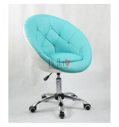 Turquoise hairs on wheels for beauty salons, hairdressers and nail salons. Chair tourquoise and white BFHC8516K