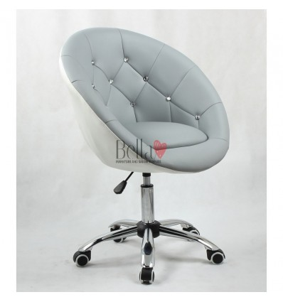 Grey-white chairs on wheels for beauty salons, hairdressers and nail salons. Chair grey and white BFHC8516K
