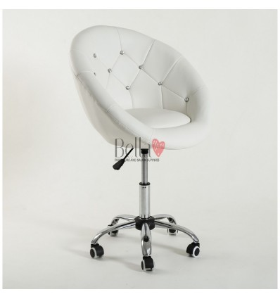 White chair on wheels for nail salons White BFHC8516CK