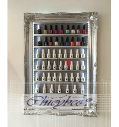 Silver chrome nail polish display. Bella furniture Silver chrome nail polish display CBSND1234