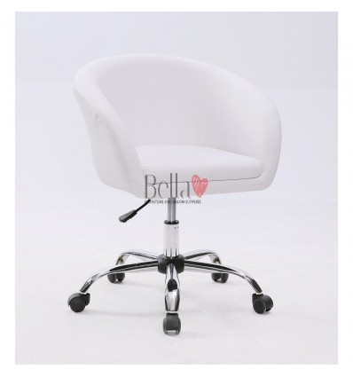 White Salon chairs on wheels for sale Ireland. Chair on wheels white BFHC8326K