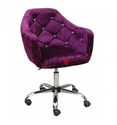 Gas-lift height adjustment chairs for sale. Chair on wheels purple velour BFHC830K