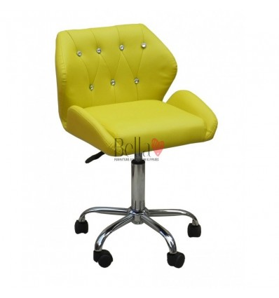 Gas lift yellow chairs for beauty salons in Ireland. yellow Chairs for hairdressers. Chair on wheels yellow BFHC949K