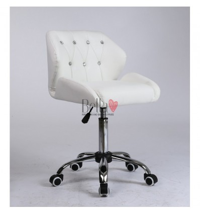 White Gas lift chairs for beauty salons in Ireland. Chairs for hairdressers. white Chair on wheels BFHC949K