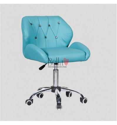 Turquoise Gas lift chairs for beauty salons in Ireland. Chairs for hairdressers. Chair on wheels Turquoise BFHC949K