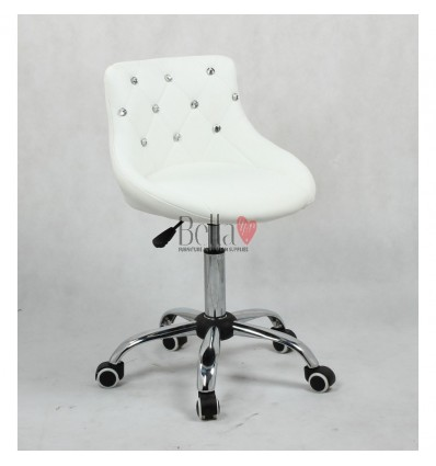 Bella furniture white salon chairs. bella Chair on wheels white BFHC931K