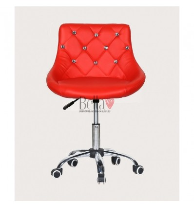 Bella furniture red salon chairs. bella Chair on wheels red BFHC931K