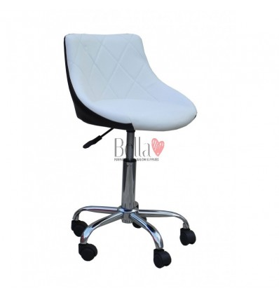 Bella furniture white and black salon chairs. bella Chair on wheels white and black BFHC931K