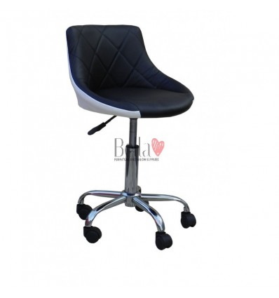 Black and white salon chairs in Ireland. Chair on wheels Black & White BFHC931K