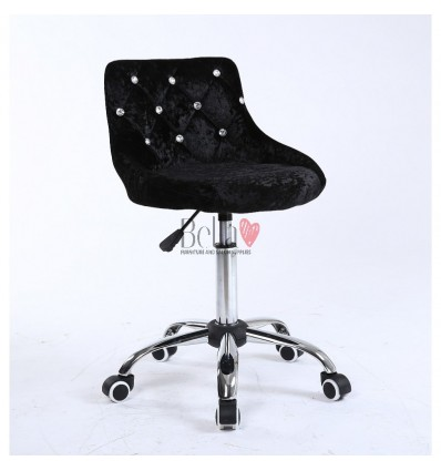 Bella furniture black velour salon chairs. bella Chair on wheels black velour BFHC931K