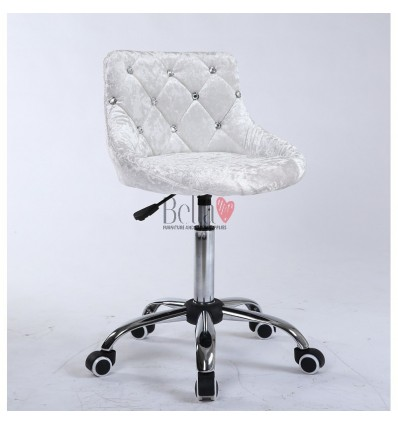 Bella Furniture Grey silver velour chairs in Ireland. Silver velour Chair on wheels BFHC931K