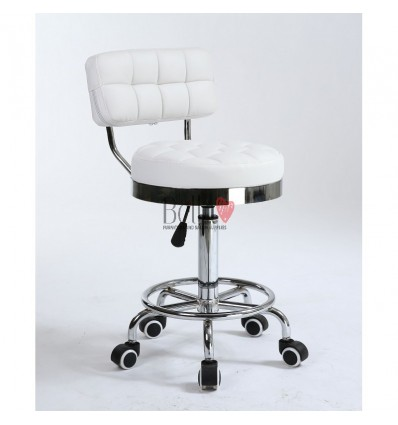 Bella Furniture White chairs on wheels in Ireland. Hairdresser chairs for sale white BFHC636