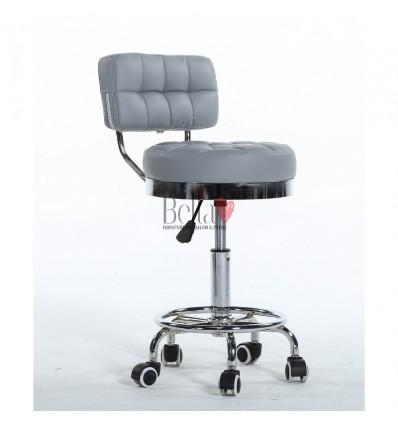 Bella Furniture Grey chairs on wheels in Ireland. Hairdresser chairs for sale grey BFHC636