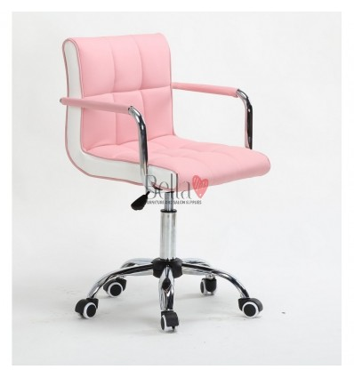 Bella Furniture Pink chairs on wheels in Ireland. Nail Salon chairs for sale. Stylish chairs for nail salons Dublin. Pink BFHC81