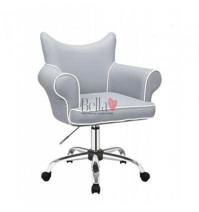 Bella Furniture Grey chairs on wheels in Ireland. Hairdresser chairs for sale. Stylish chairs for hairdresser salons BFHC332K