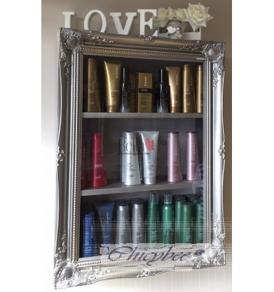 BEAUTY PRODUCT DISPLAY FRAMED CABINET SILVER PEWTER