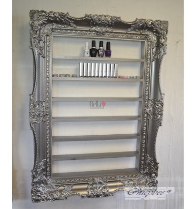 NAIL POLISH RACK DISPLAY FRAME VERY WIDE AND ORNATE PEWTER SILVER