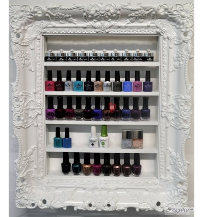 White Baroque Nail Polish Rack - High Gloss Very Wide Style
