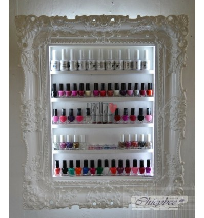 White Baroque LED Lit Nail Polish Rack - High Gloss Very Wide Style