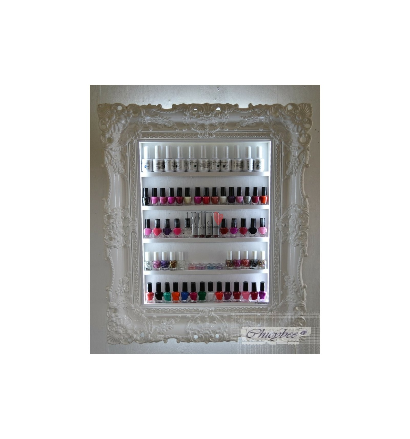 nail polish display frame white display frame for nail salon. Black Bedroom Furniture Sets. Home Design Ideas