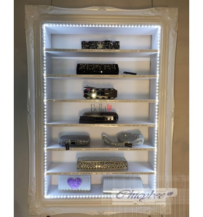 BOUTIQUE STORAGE CABINET - WHITE WITH LED & DIAMANTE TRIM