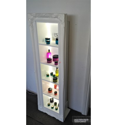 WHITE FLOOR STANDING - RETAIL DISPLAY FRAME WITH LED